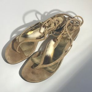 Dolce & Gabbana thong tie up suede sandals 7.5